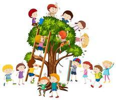 Kinder klettern auf den Baum