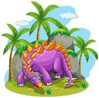 Dinosaure violet debout sur le sol