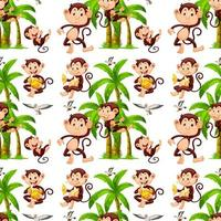 Seamless monkeys and coconut trees