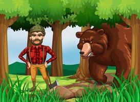 Escena del bosque con lumber jack y bear