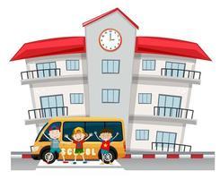 Children and school van at the school