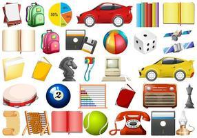 Conjunto de objetos diferentes vetor