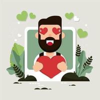 Uomo con gli occhi a cuore per San Valentino