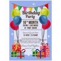 flat style birthday party poster template with balloon flag present box