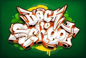Letras de graffiti de regreso a la escuela vector