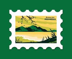Indonesia Beach Landscape Stamp Template Illustration vector