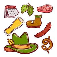 Octoberfest Doodle Icon set on Isolated White Background