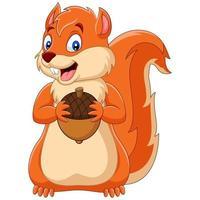 squirrel holding nut cartoon