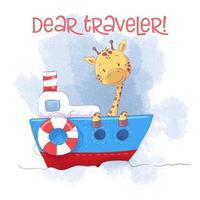 Cute cartoon giraffe on a ship