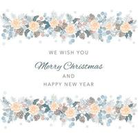 Merry Christmas greeting card seamless pattern