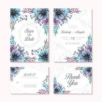 Elegant Watercolor Flower Decoration Wedding Invitation Card Set Template