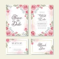 Wedding Invitation Card With Watercolor Flower Decoration vector