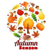autumn season wreath round