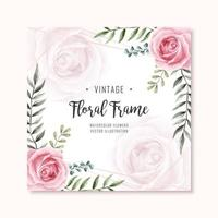 Watercolor Floral Rose Flowers Frame Multipurpose Background