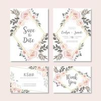 Tarjeta de invitación de boda vintage con decoración de flores de acuarela