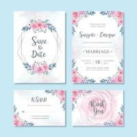 Watercolor Floral Flower Wedding Invitation Card Decoration vector