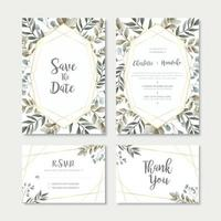 Watercolor Leaves Wedding Invitation Card Template Set