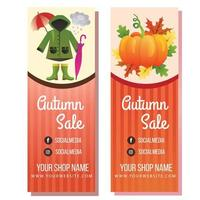 autumn season rainy and pumpkin banner