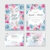 Conjunto de modelo de cartão de convite de casamento de flor rosa azul aquarela