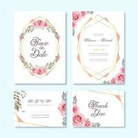 Tarjeta de invitación de boda con decoración floral de flores de acuarela