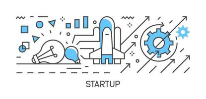 Startup illustration and workflow. Flat line design infographic with blue color