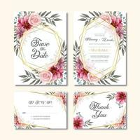 Vintage Wedding Invitation Card With Watercolor Flower Decoration vector