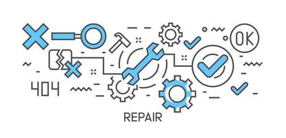 Repair illustration and workflow. Flat line design infographic with blue color