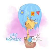 Cute cartoon giraffe in a balloon with flowers