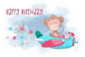 Cute cartoon monkey on a plane with flowers vector