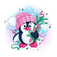 Cute penguin in a knitted pink hat