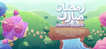 Ramadhan Mubarak With A Cute Mosque And Wooden Bridge Top View vector