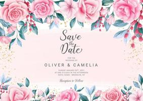 Botanic wedding invitation card template