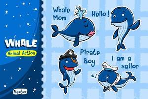 Conjunto de desenhos animados de baleia. Desenho vetorial de ação animal