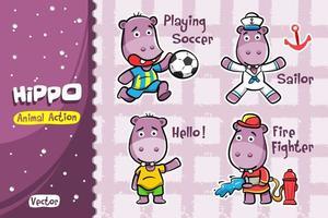 Conjunto de desenhos animados de hipopótamo. Desenho vetorial de ação animal