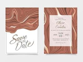 Elegant brown liquid marble wedding invitation cards template