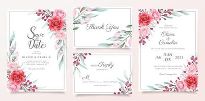 Floral wedding invitation card template set