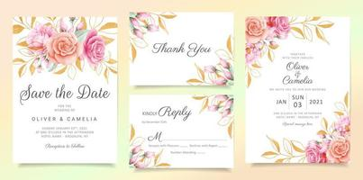 Flowers with glitter leaves wedding invitation card template set