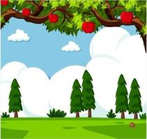 Äppelträd i gräs- park