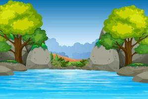 Cartoon lake with trees and rocks