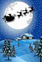 Besneeuwde kerstnacht scène