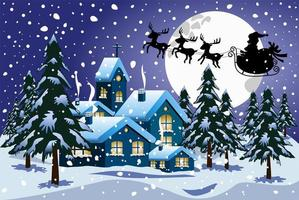 Cartoon snowy Christmas night scene