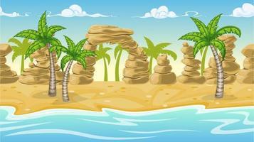 Paisaje de playa de naturaleza perfecta con palmeras