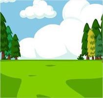 Grönt gräs- fält för tecknad film och träd