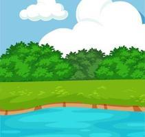 Gräs och buskar med floden