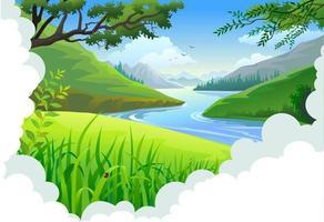Kronkelende rivier door grasrijke velden