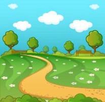 Cartoon dirt path winding through park
