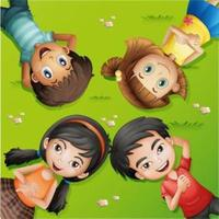 Cartoon Kinder auf Gras