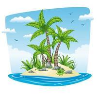Isola di cartone animato con palme