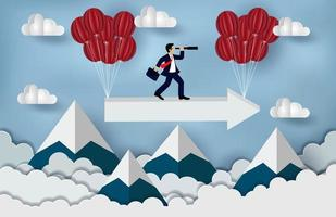 Business Success concept. Businessman standing on a arrow