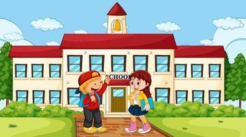 Menino e menina na escola
